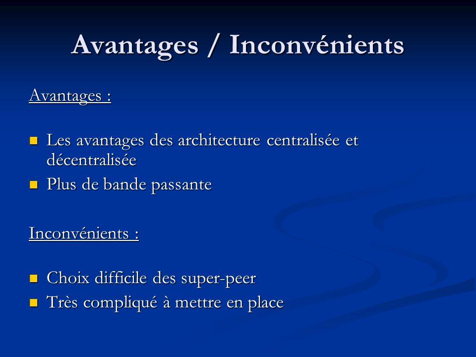 Avantages / Inconvénients Avantages : Les avantages des architecture centralisée et décentralisée Les avantages des architecture centralisée et décent