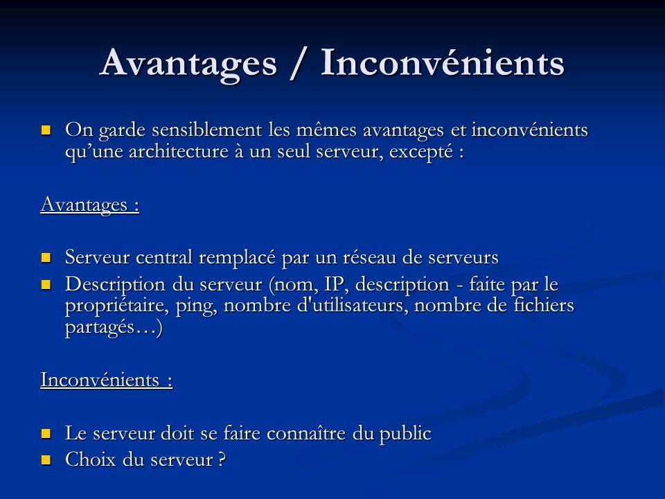 Avantages / Inconvénients On garde sensiblement les mêmes avantages et inconvénients quune architecture à un seul serveur, excepté : On garde sensible