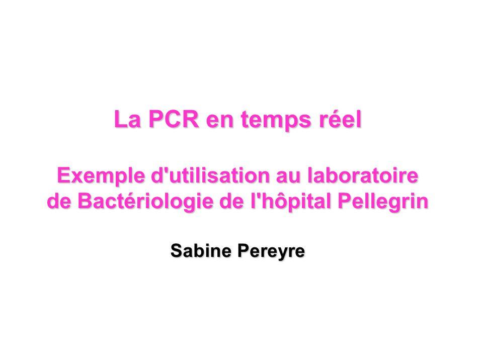 PCR conventionnelle Taq Dénaturation (95°C) Hybridation des amorces Elongation (72°C) 30 - 35 cycles ADN, amorces, dNTP, Taq pol