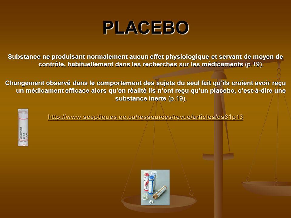 PLACEBO Substance ne produisant normalement aucun effet physiologique et servant de moyen de contrôle, habituellement dans les recherches sur les médicaments (p.19).