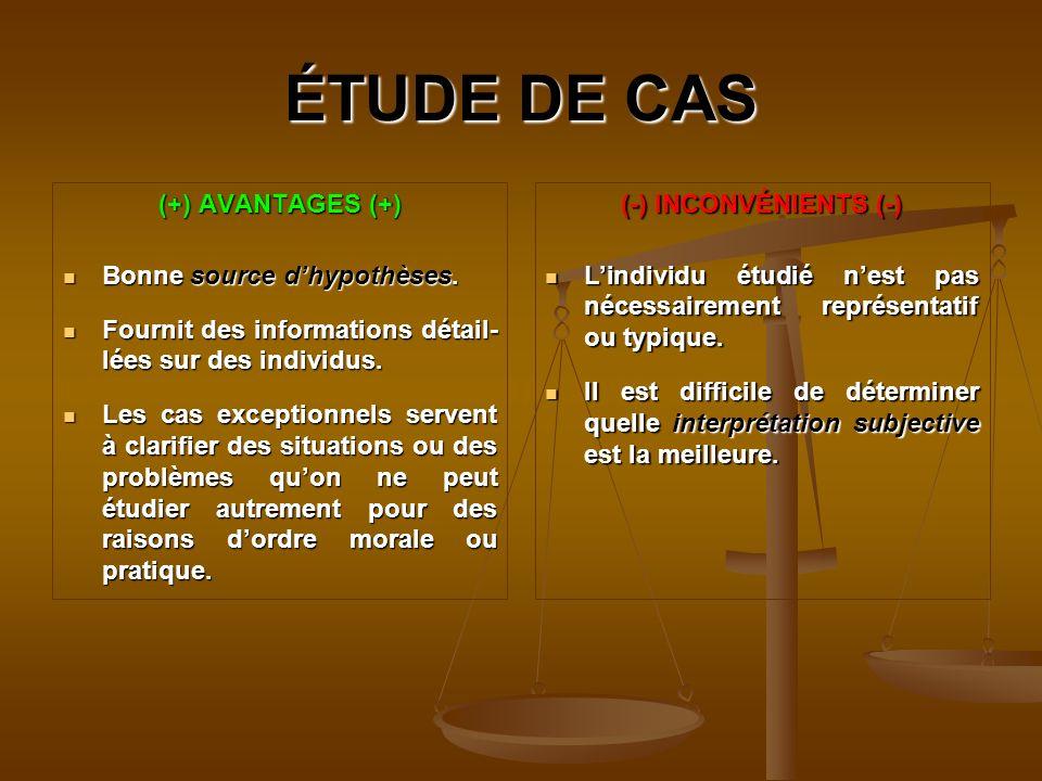 ÉTUDE DE CAS (+) AVANTAGES (+) Bonne source dhypothèses.
