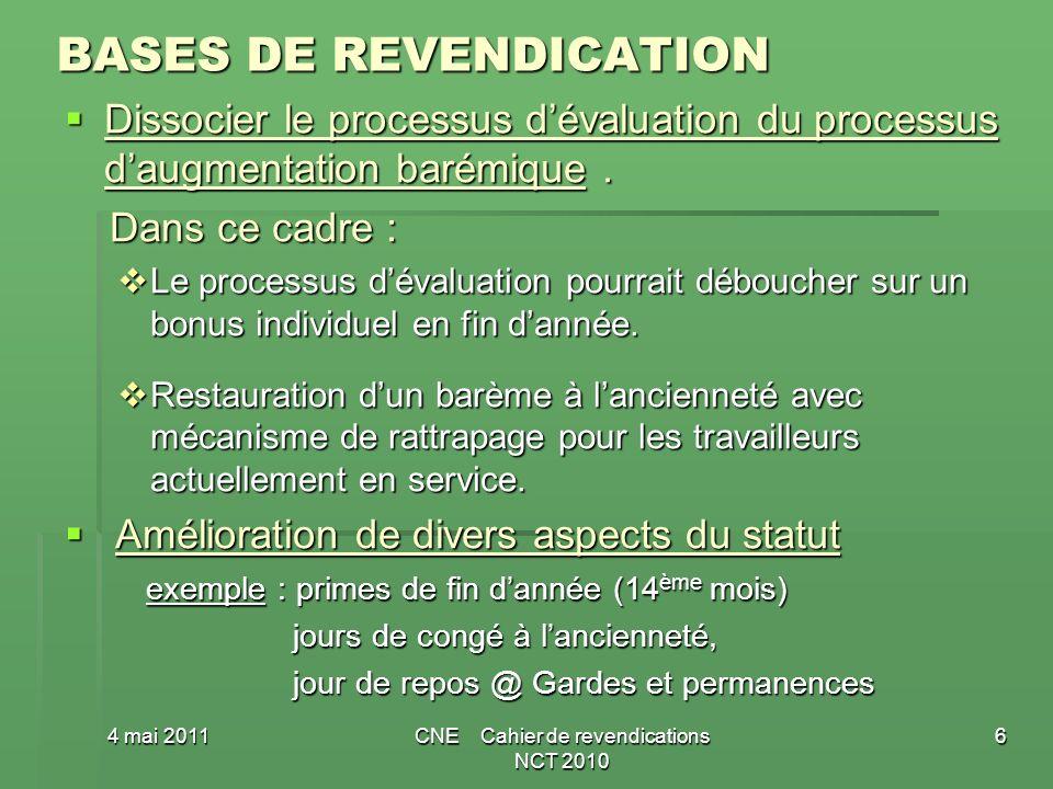 BASES DE REVENDICATION Dissocier le processus dévaluation du processus daugmentation barémique.