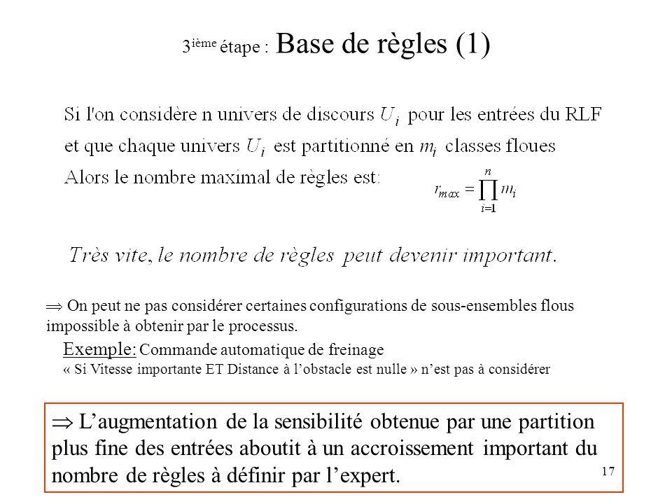 17 3 ième étape : Base de règles (1) Laugmentation de la sensibilité obtenue par une partition plus fine des entrées aboutit à un accroissement important du nombre de règles à définir par lexpert.