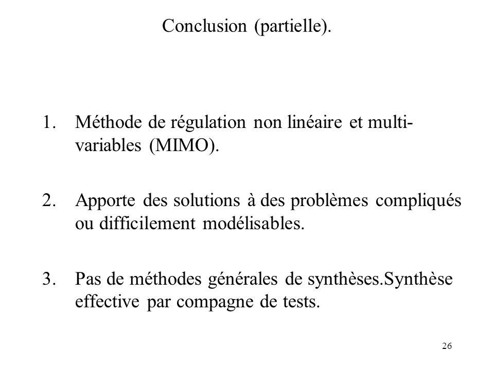 26 Conclusion (partielle).1.Méthode de régulation non linéaire et multi- variables (MIMO).
