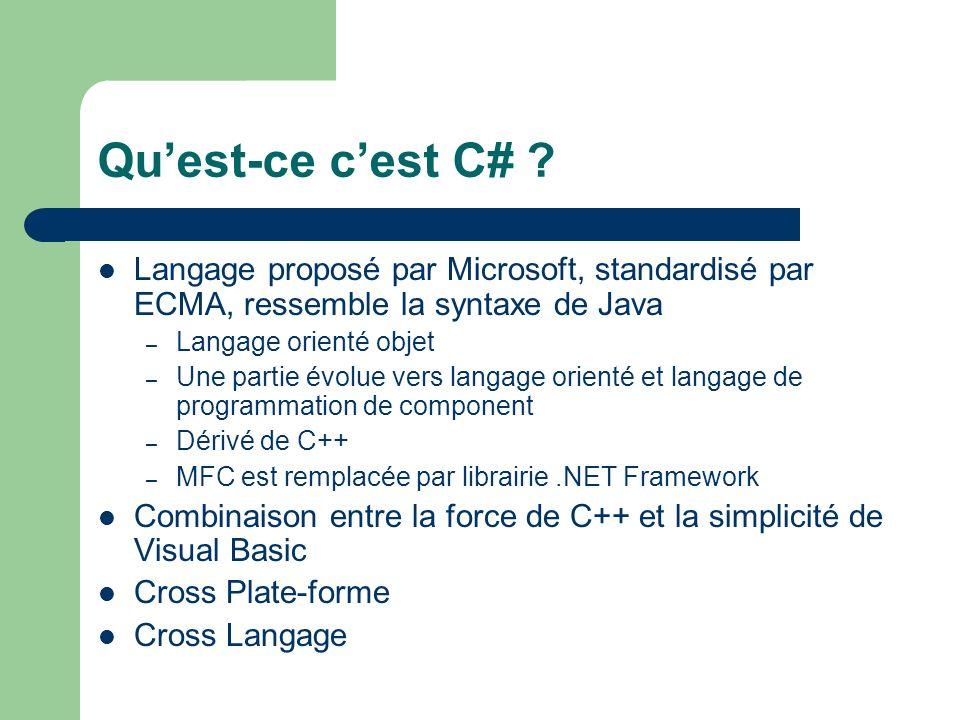 Quest-ce cest C# ? Langage proposé par Microsoft, standardisé par ECMA, ressemble la syntaxe de Java – Langage orienté objet – Une partie évolue vers