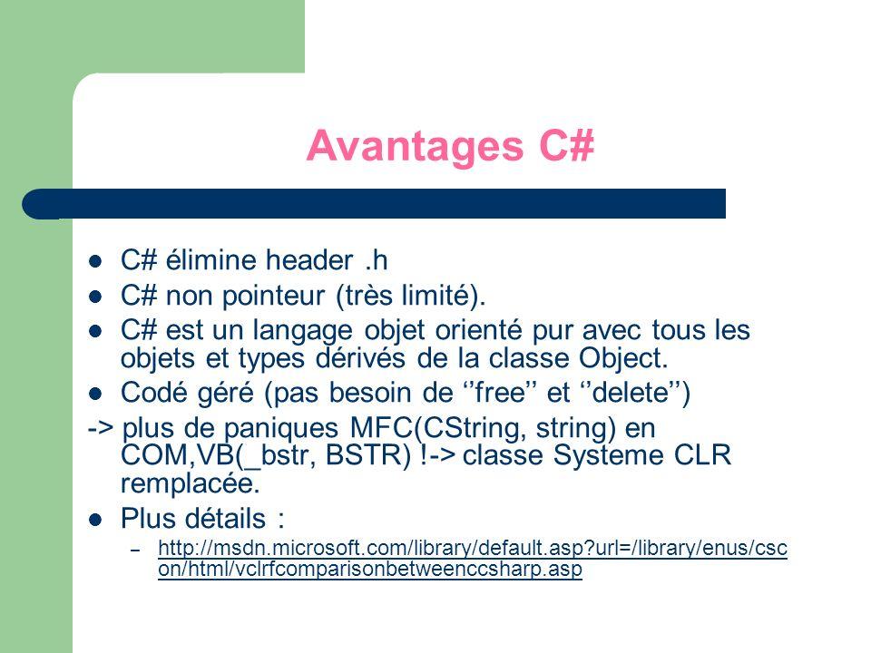C# élimine header.h C# non pointeur (très limité). C# est un langage objet orienté pur avec tous les objets et types dérivés de la classe Object. Codé