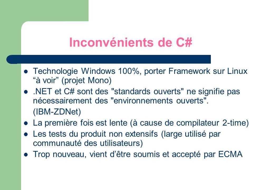 Inconvénients de C# Technologie Windows 100%, porter Framework sur Linux à voir (projet Mono).NET et C# sont des