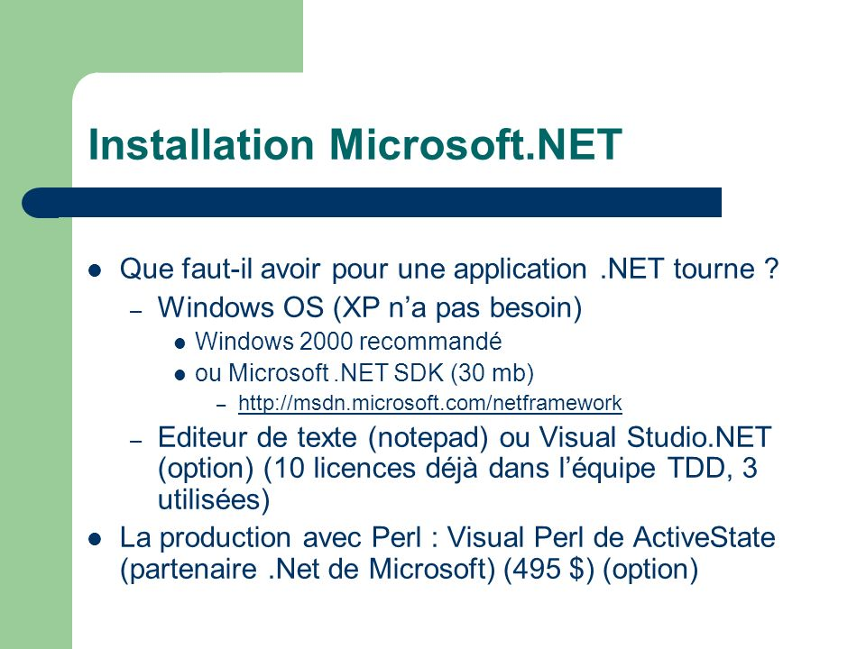 C# et.NET: orientation to the Internet evolution Application to application (B2B) Web services XML/SOAP Architecture n-tiers Person to person (C2C) Data echange PC Architecture 1-tiers Evolution de larchitecture Application to person (B2C) Web server Web browser HTTP/HTML Architecture 2-tiers Web browser Application to person (B2C) HTTP/HTML Web server Databases