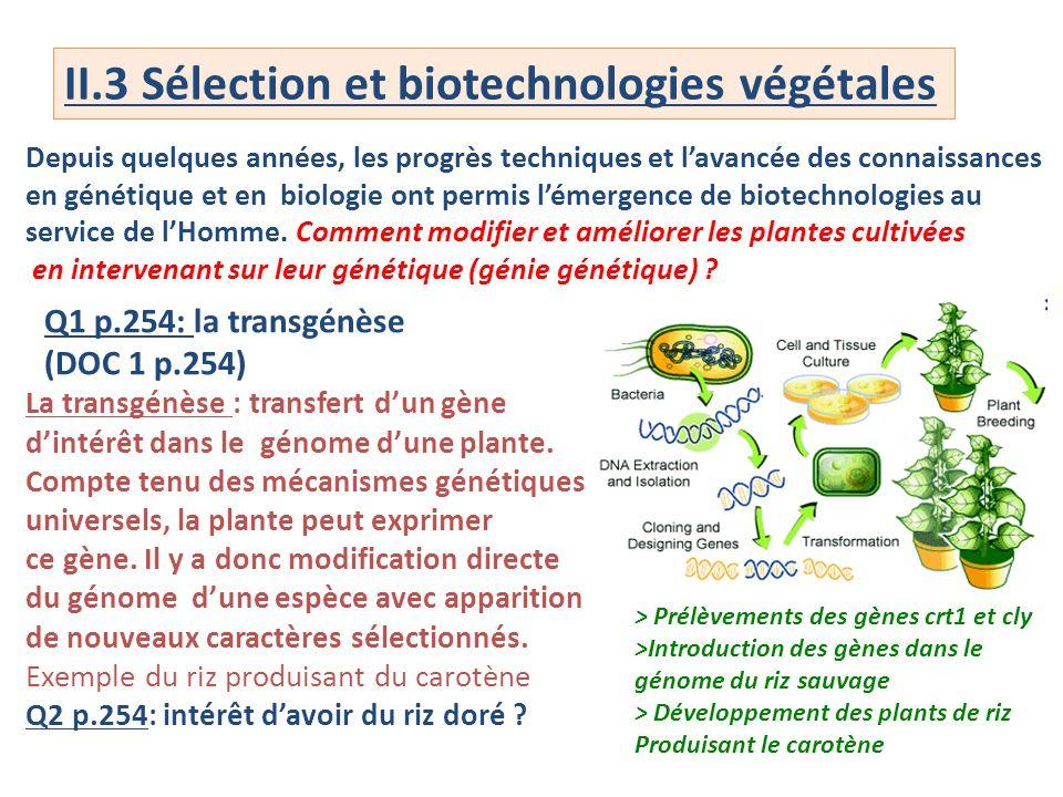 II.3 Sélection et biotechnologies végétales Depuis quelques années, les progrès techniques et lavancée des connaissances en génétique et en biologie o