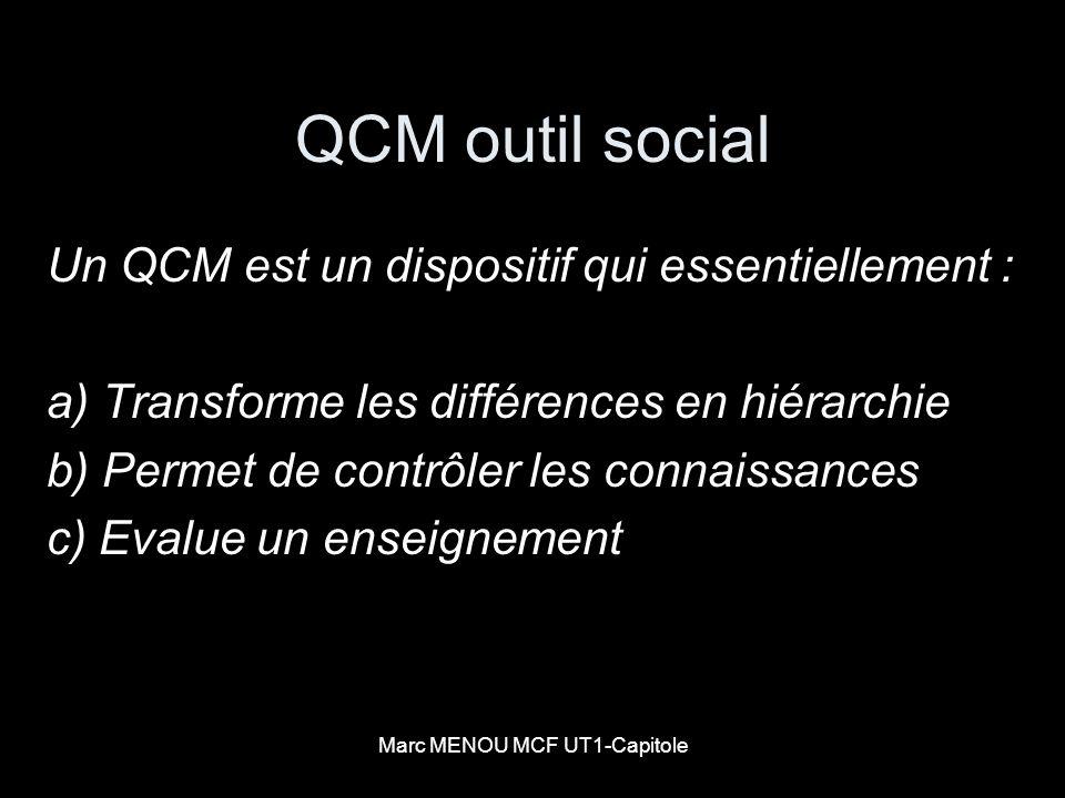Marc MENOU MCF UT1-Capitole QCM outil social Un QCM est un dispositif qui essentiellement : a) Transforme les différences en hiérarchie b) Permet de c