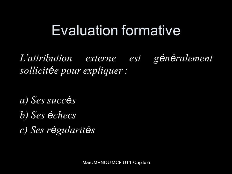 Marc MENOU MCF UT1-Capitole Evaluation formative L attribution externe est g é n é ralement sollicit é e pour expliquer : a) Ses succ è s b) Ses é che