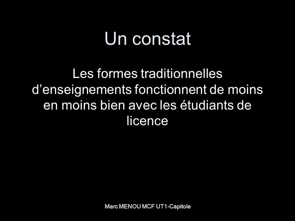 Marc MENOU MCF UT1-Capitole Un constat Les formes traditionnelles denseignements fonctionnent de moins en moins bien avec les étudiants de licence