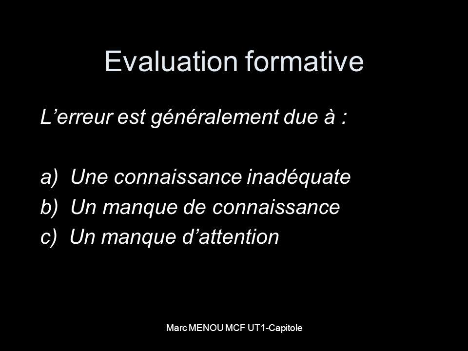 Marc MENOU MCF UT1-Capitole Evaluation formative Lerreur est généralement due à : a) Une connaissance inadéquate b) Un manque de connaissance c) Un ma