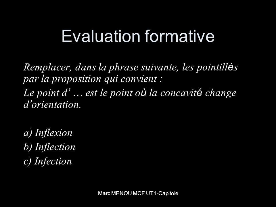 Marc MENOU MCF UT1-Capitole Evaluation formative Remplacer, dans la phrase suivante, les pointill é s par la proposition qui convient : Le point d … e