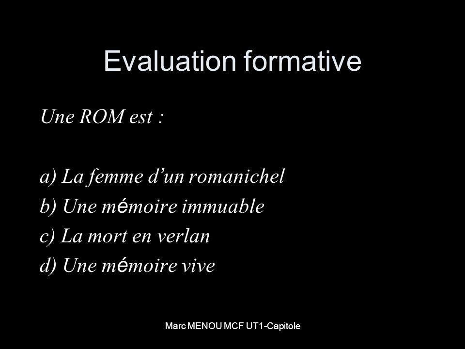 Marc MENOU MCF UT1-Capitole Evaluation formative Une ROM est : a) La femme d un romanichel b) Une m é moire immuable c) La mort en verlan d) Une m é m