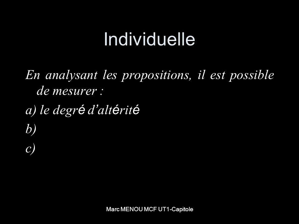 Marc MENOU MCF UT1-Capitole Individuelle En analysant les propositions, il est possible de mesurer : a) le degr é d alt é rit é b) c)