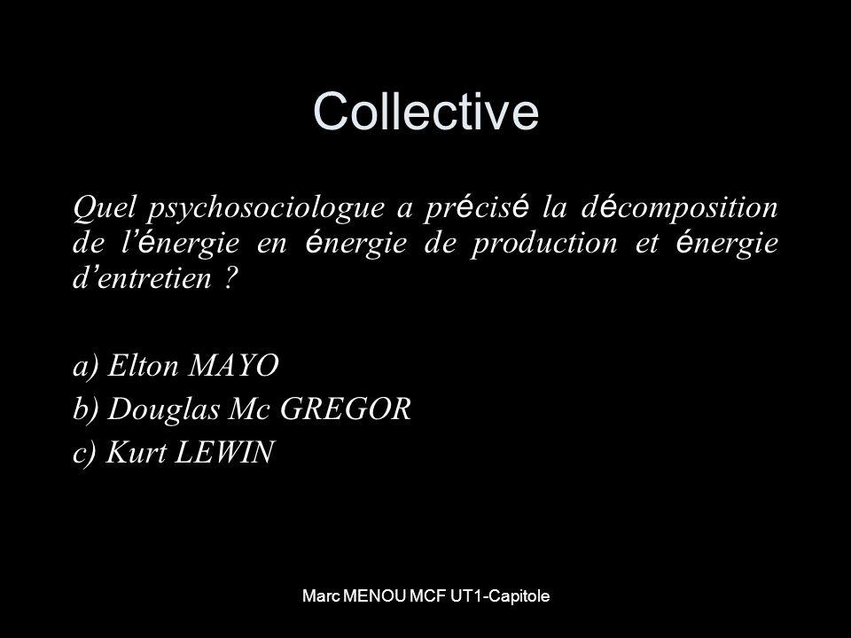 Marc MENOU MCF UT1-Capitole Collective Quel psychosociologue a pr é cis é la d é composition de l é nergie en é nergie de production et é nergie d ent
