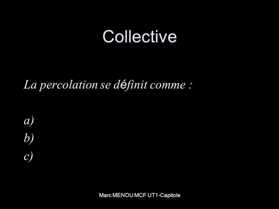 Marc MENOU MCF UT1-Capitole Collective La percolation se d é finit comme : a) b) c)