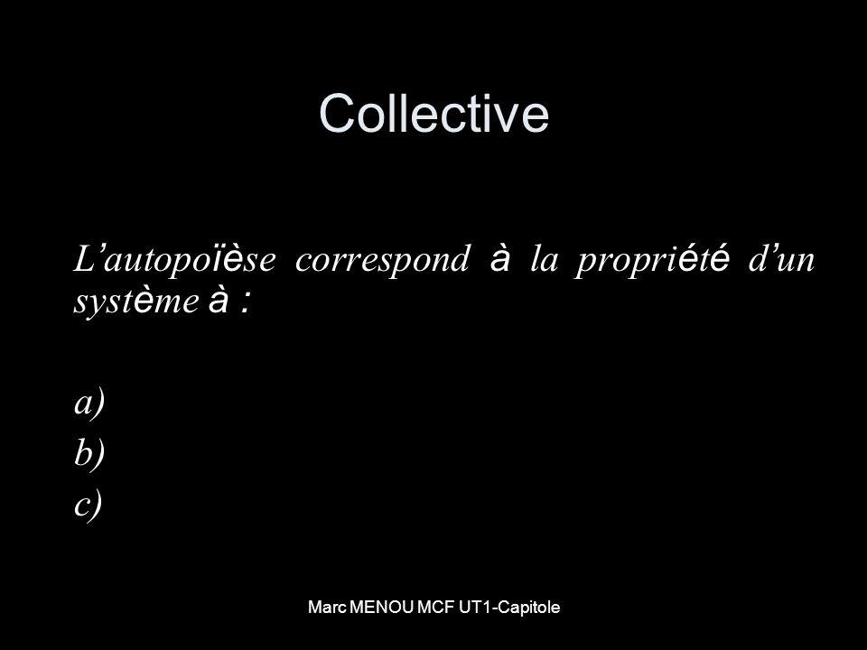 Marc MENOU MCF UT1-Capitole Collective L autopo ïè se correspond à la propri é t é d un syst è me à : a) b) c)