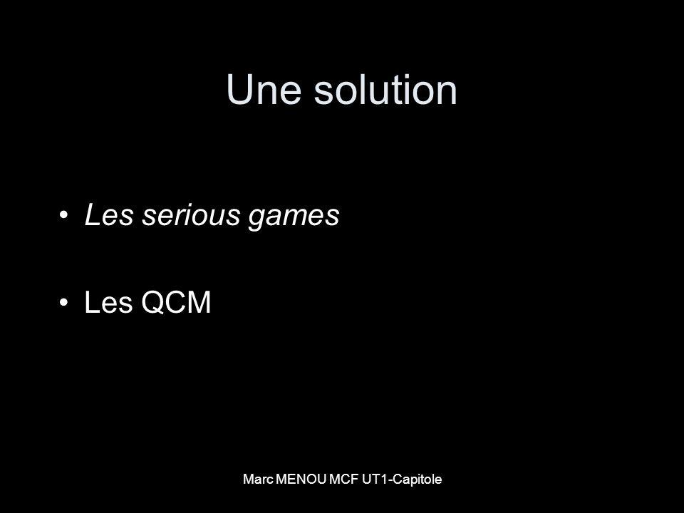 Marc MENOU MCF UT1-Capitole Inconvénients du QCM Un QCM permet de tester : a) lorthographe et lexpression b) limagination et la créativité c) les connaissances et la compréhension