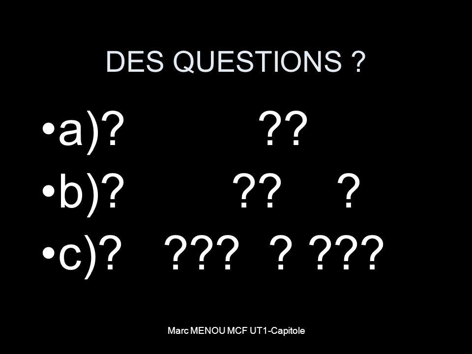Marc MENOU MCF UT1-Capitole DES QUESTIONS ? a)? ?? b)? ?? ? c)? ??? ? ???