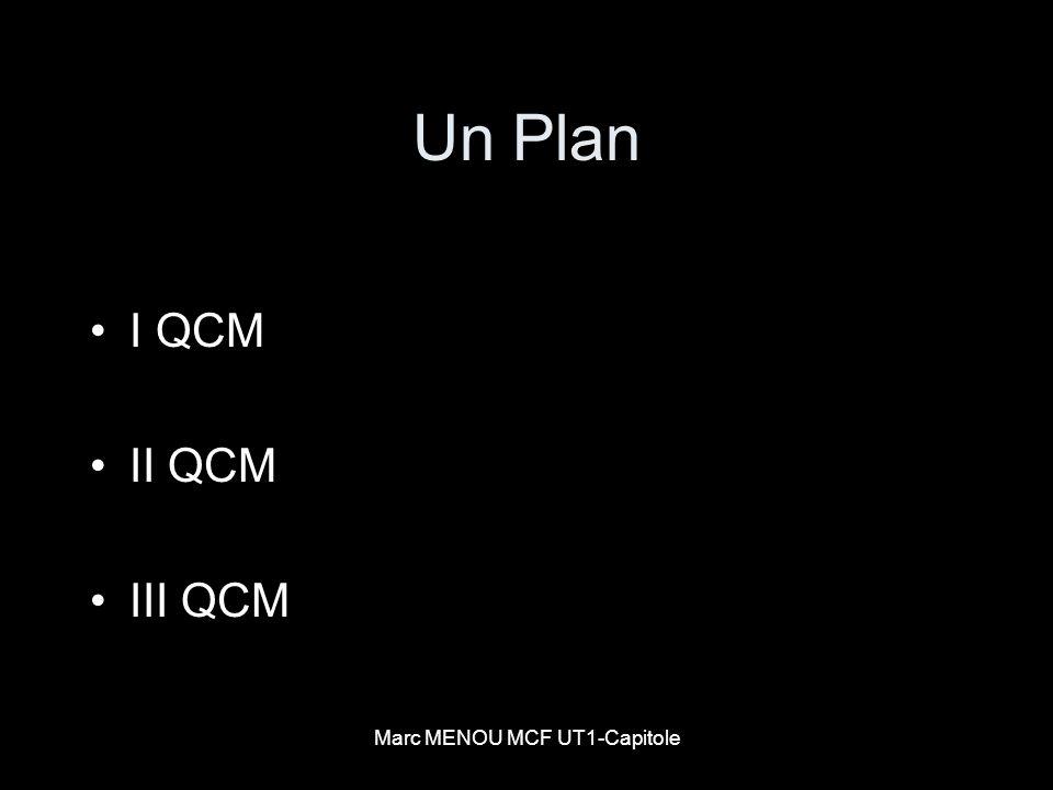 Marc MENOU MCF UT1-Capitole Un Plan I QCM II QCM III QCM