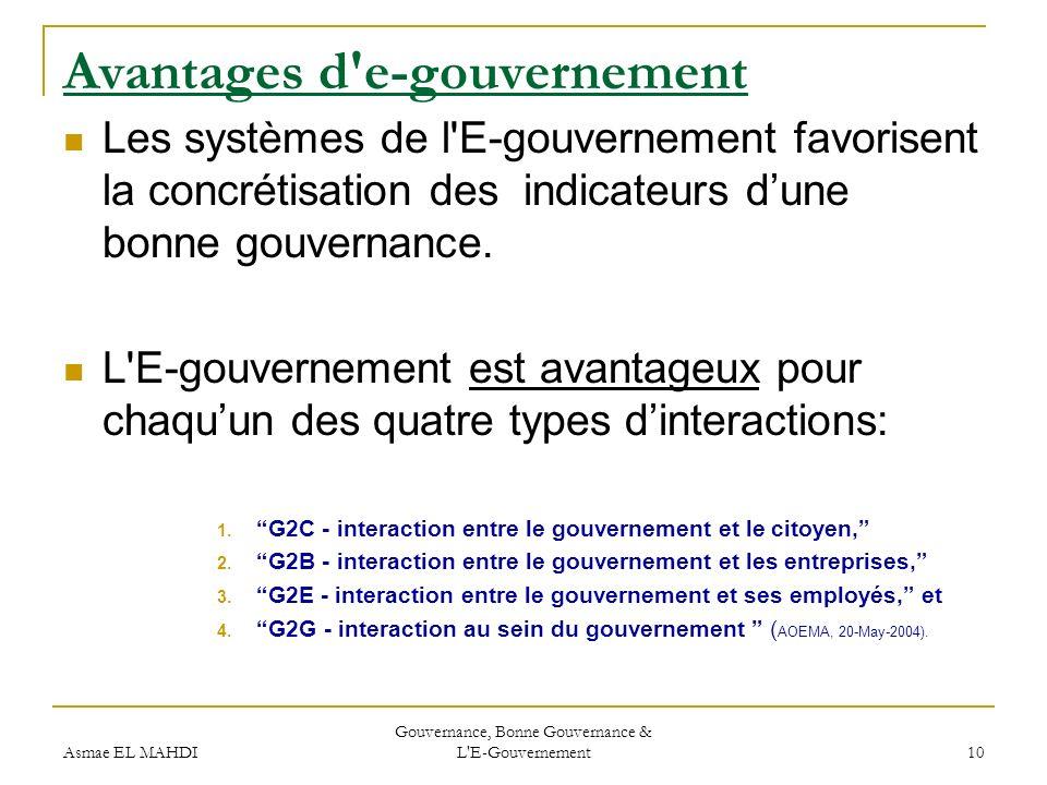 Asmae EL MAHDI Gouvernance, Bonne Gouvernance & L'E-Gouvernement 10 Avantages d'e-gouvernement Les systèmes de l'E-gouvernement favorisent la concréti