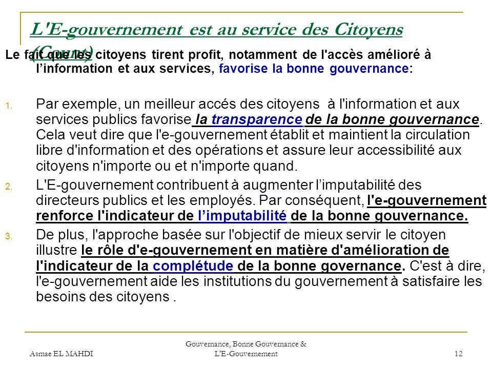 Asmae EL MAHDI Gouvernance, Bonne Gouvernance & L'E-Gouvernement 12 L'E-gouvernement est au service des Citoyens (Count) Le fait que les citoyens tire