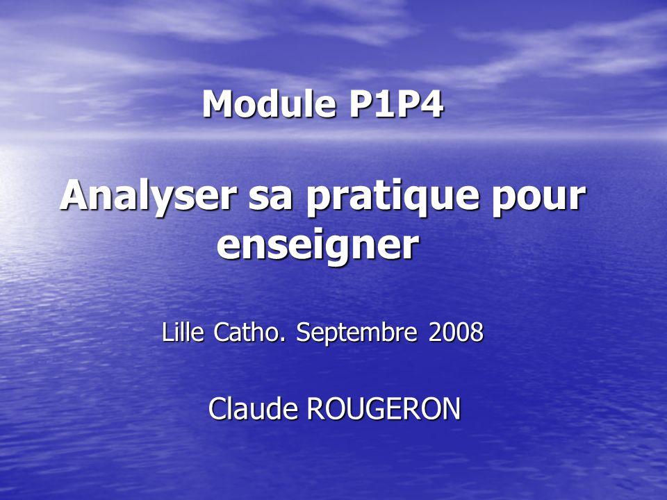 Module P1P4 Analyser sa pratique pour enseigner Lille Catho.