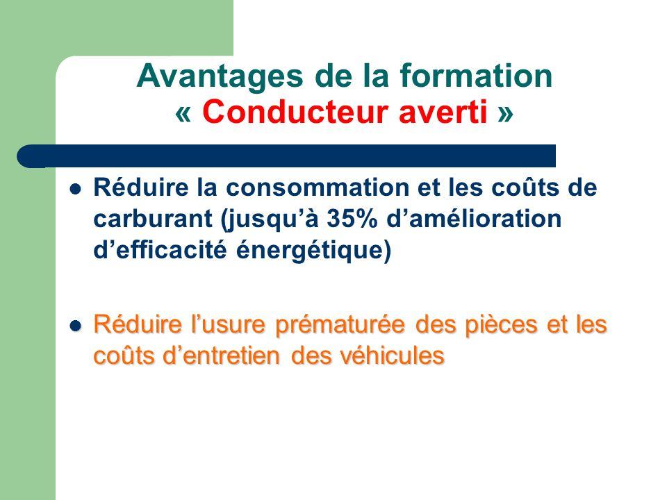Avantages de la formation « Conducteur averti » Adopter une conduite préventive et améliorer la sécurité routière Protéger lenvironnement Transférer les pratiques de conduite aux véhicules personnels