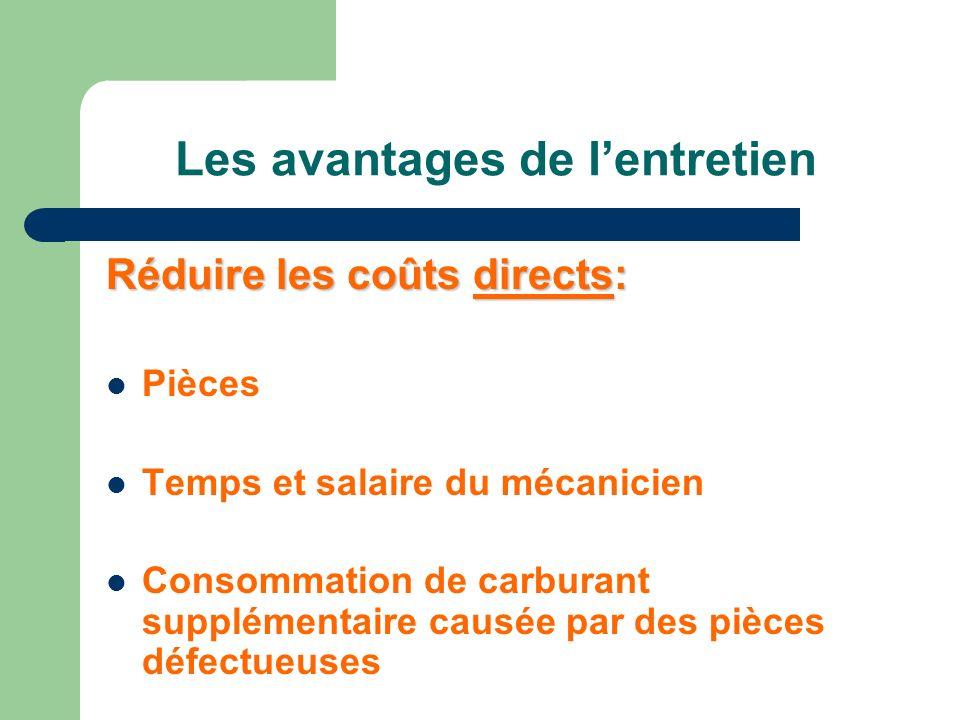 Les avantages de lentretien Réduire les coûts indirects: Pertes reliées au hors-service (productivité, salaire) Service à la clientèle (délais de service, image corporative)