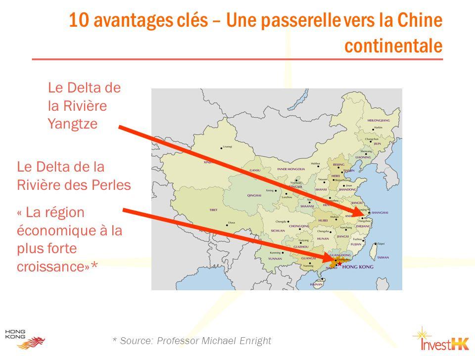 Le Delta de la Rivière des Perles « La région économique à la plus forte croissance»* Le Delta de la Rivière Yangtze * Source: Professor Michael Enrig