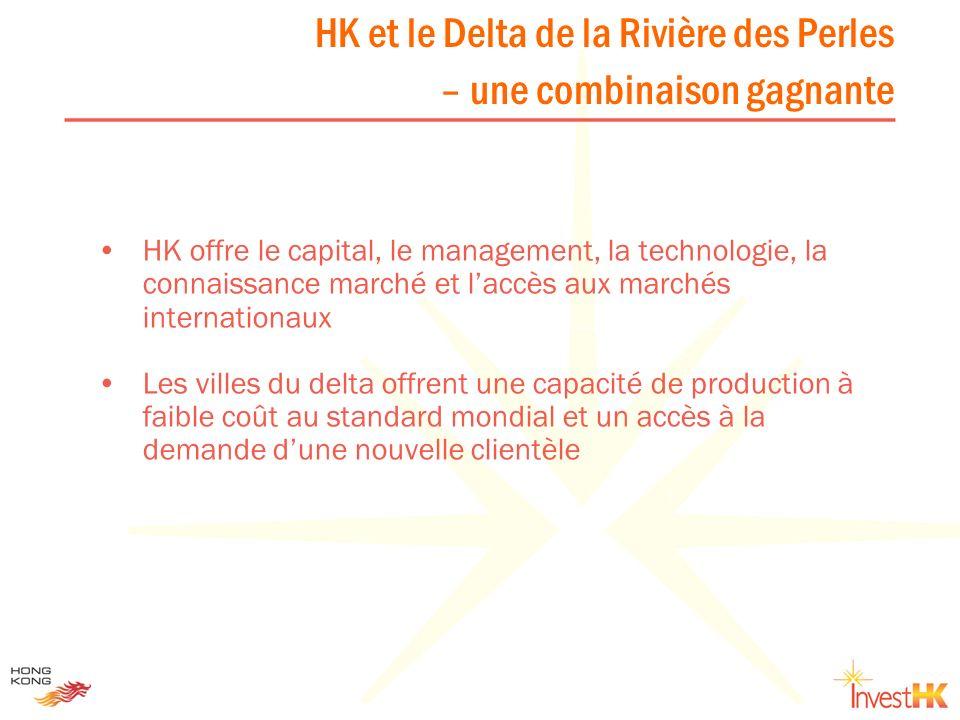HK et le Delta de la Rivière des Perles – une combinaison gagnante HK offre le capital, le management, la technologie, la connaissance marché et laccè