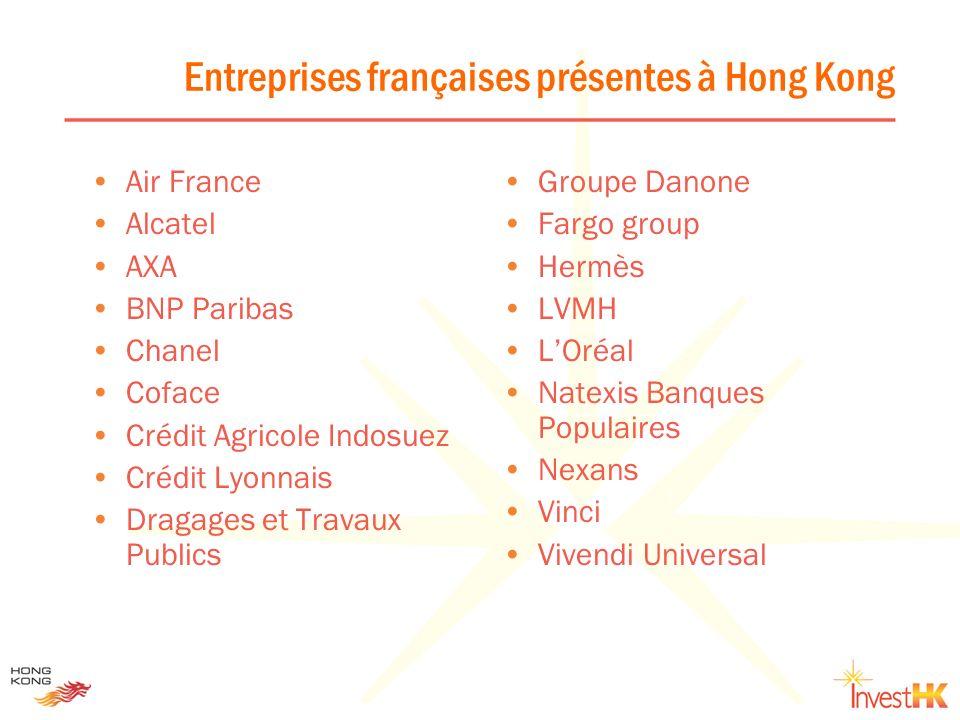Entreprises françaises présentes à Hong Kong Air France Alcatel AXA BNP Paribas Chanel Coface Crédit Agricole Indosuez Crédit Lyonnais Dragages et Tra