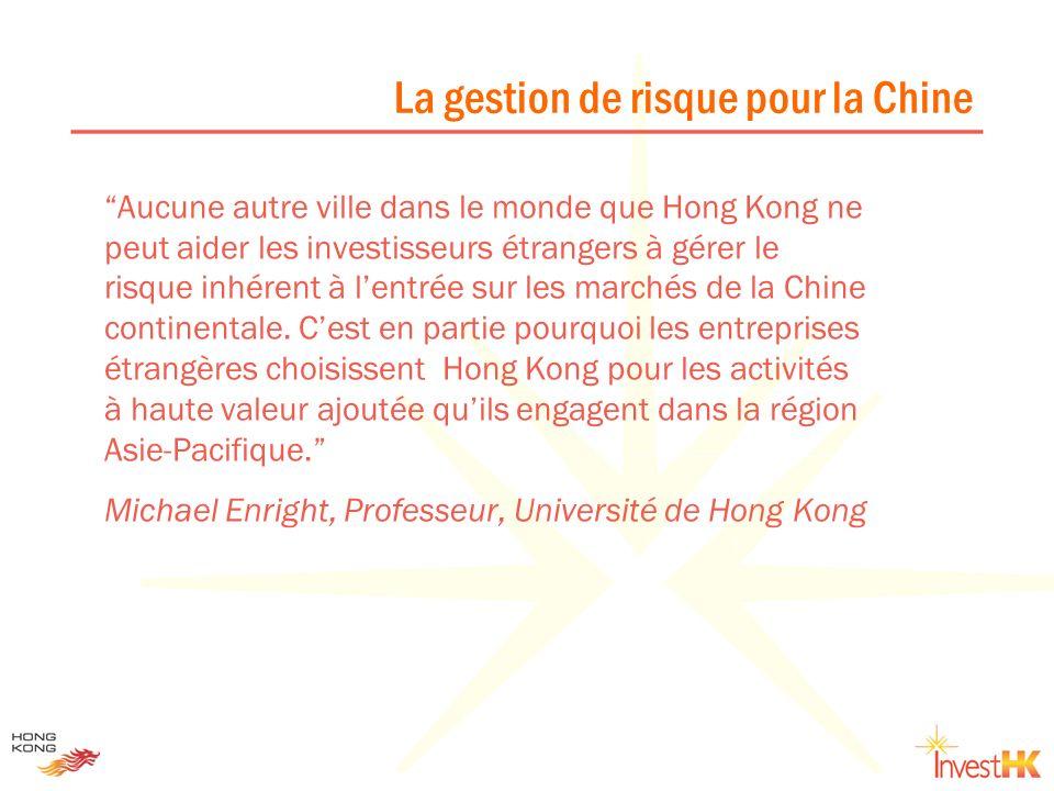 Aucune autre ville dans le monde que Hong Kong ne peut aider les investisseurs étrangers à gérer le risque inhérent à lentrée sur les marchés de la Ch