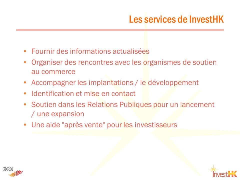 Les 9 secteurs prioritaires de InvestHK Services aux professionnels Finance Technologies de linformation Media et multimedia Technologies (biotech et électronique) Télécoms Tourisme et loisirs Commerce et distribution Transport et logistique