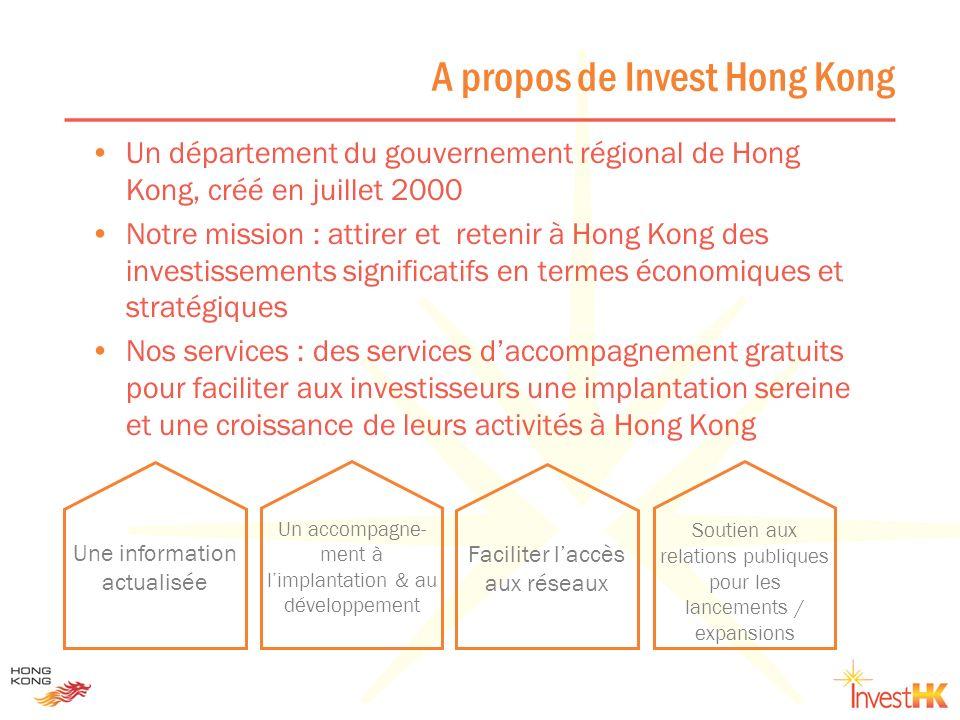 A propos de Invest Hong Kong Un département du gouvernement régional de Hong Kong, créé en juillet 2000 Notre mission : attirer et retenir à Hong Kong