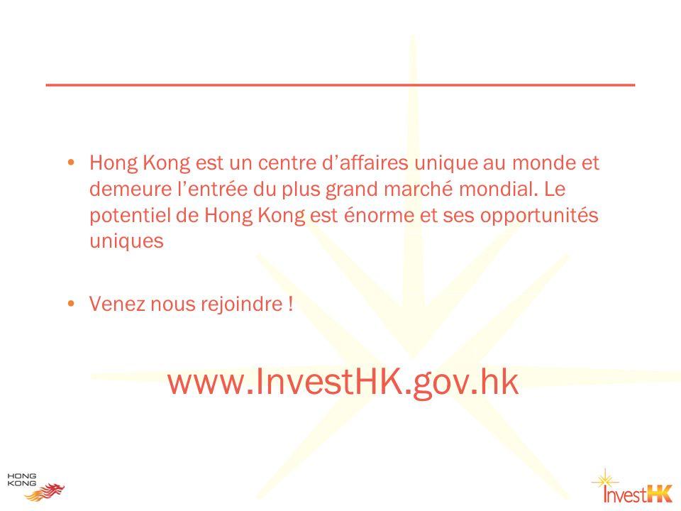 Hong Kong est un centre daffaires unique au monde et demeure lentrée du plus grand marché mondial. Le potentiel de Hong Kong est énorme et ses opportu
