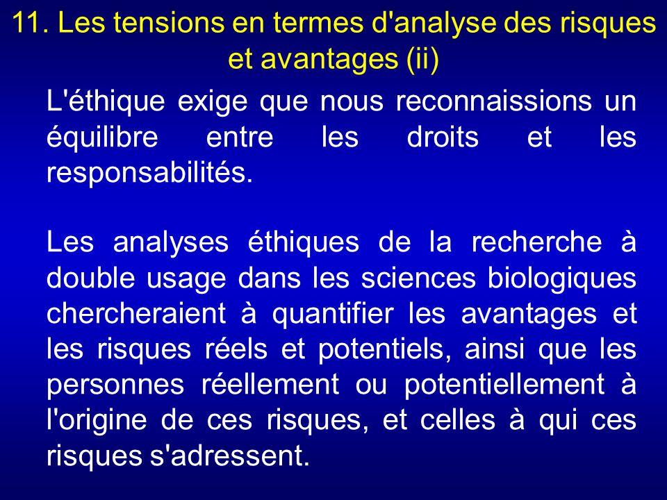 11. Les tensions en termes d'analyse des risques et avantages (ii) L'éthique exige que nous reconnaissions un équilibre entre les droits et les respon
