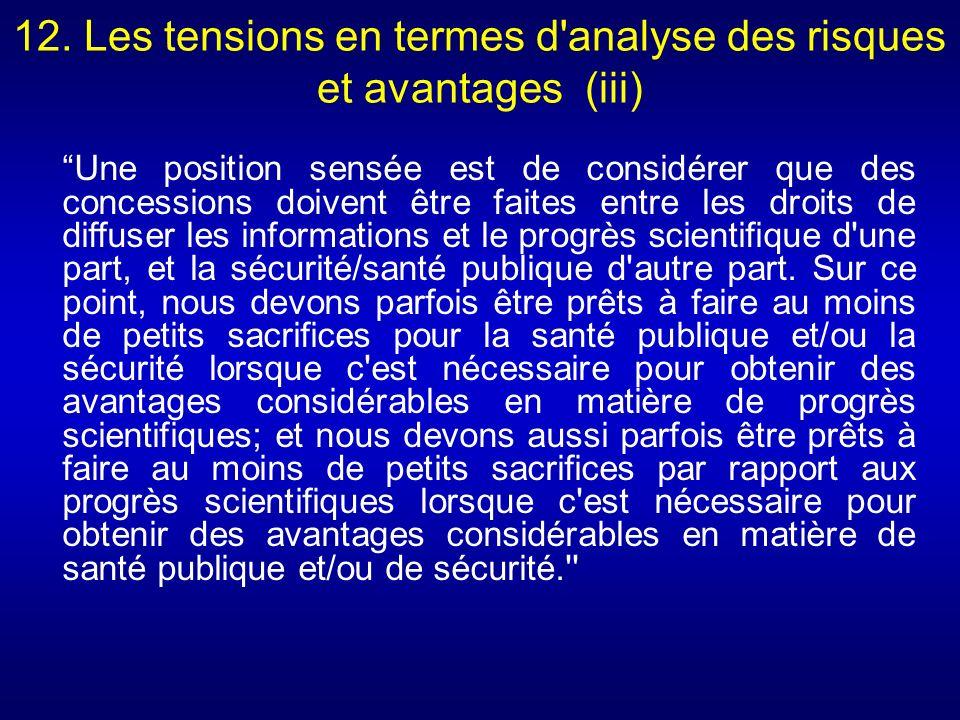 12. Les tensions en termes d'analyse des risques et avantages (iii) Une position sensée est de considérer que des concessions doivent être faites entr