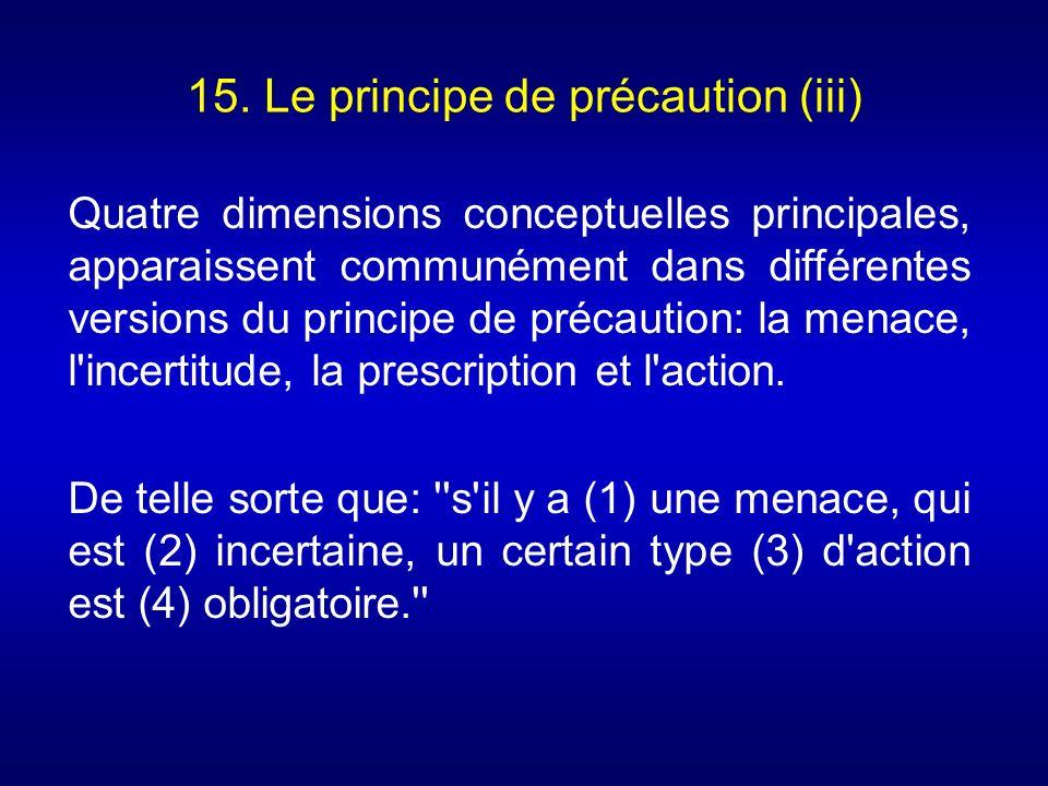 15. Le principe de précaution (iii) Quatre dimensions conceptuelles principales, apparaissent communément dans différentes versions du principe de pré