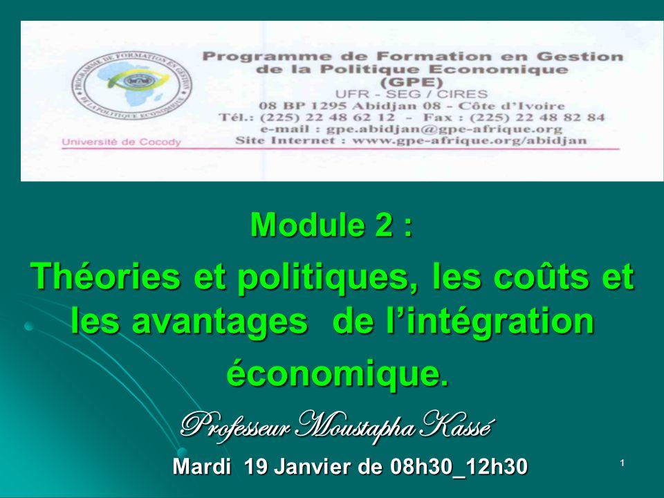Module 2 : Théories et politiques, les coûts et les avantages de lintégration économique. économique. Professeur Moustapha Kassé Mardi 19 Janvier de 0