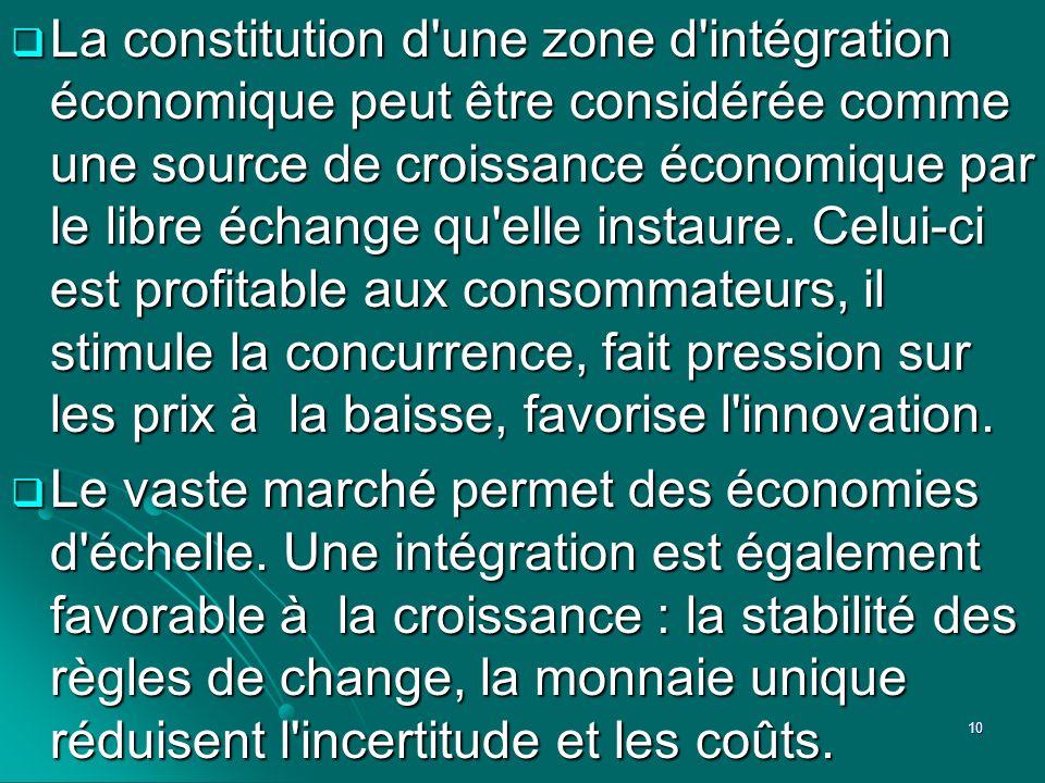 La constitution d'une zone d'intégration économique peut être considérée comme une source de croissance économique par le libre échange qu'elle instau