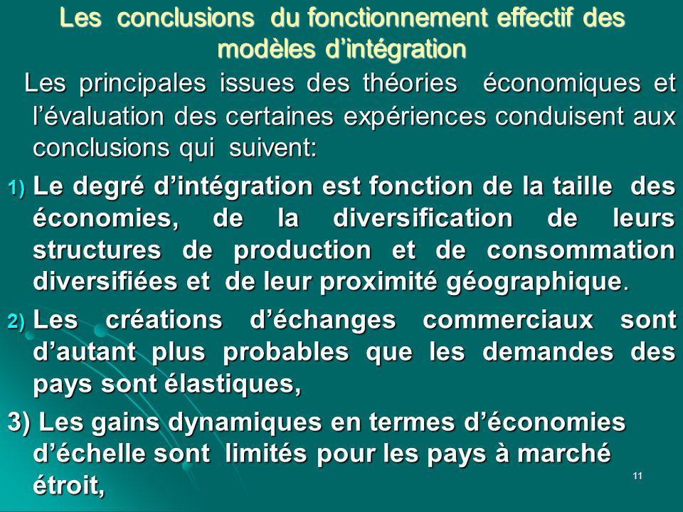 Les conclusions du fonctionnement effectif des modèles dintégration Les principales issues des théories économiques et lévaluation des certaines expér