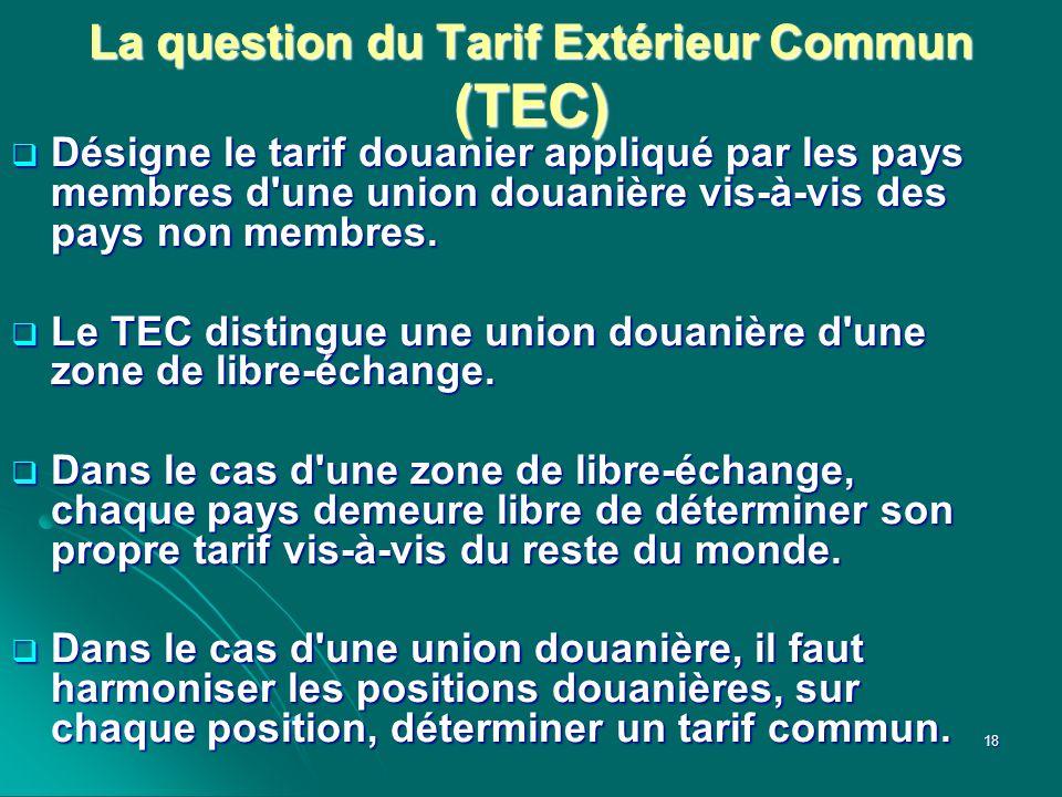 La question du Tarif Extérieur Commun (TEC) Désigne le tarif douanier appliqué par les pays membres d'une union douanière vis-à-vis des pays non membr