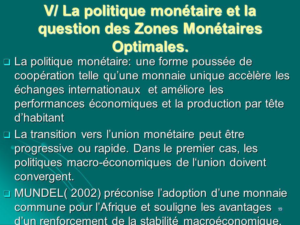 V/ La politique monétaire et la question des Zones Monétaires Optimales. La politique monétaire: une forme poussée de coopération telle quune monnaie