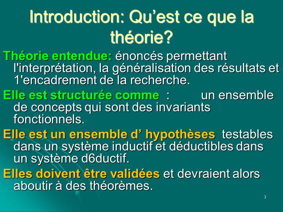Introduction: Quest ce que la théorie? Théorie entendue: énoncés permettant l'interprétation, la généralisation des résultats et 1'encadrement de la r