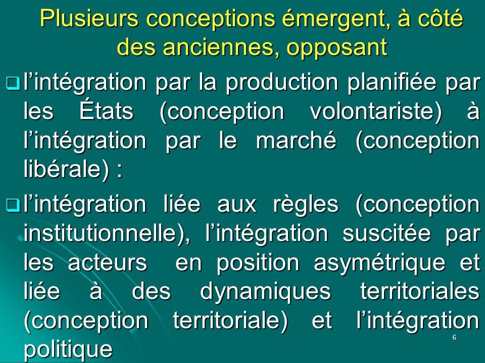 Plusieurs conceptions émergent, à côté des anciennes, opposant lintégration par la production planifiée par les États (conception volontariste) à lint