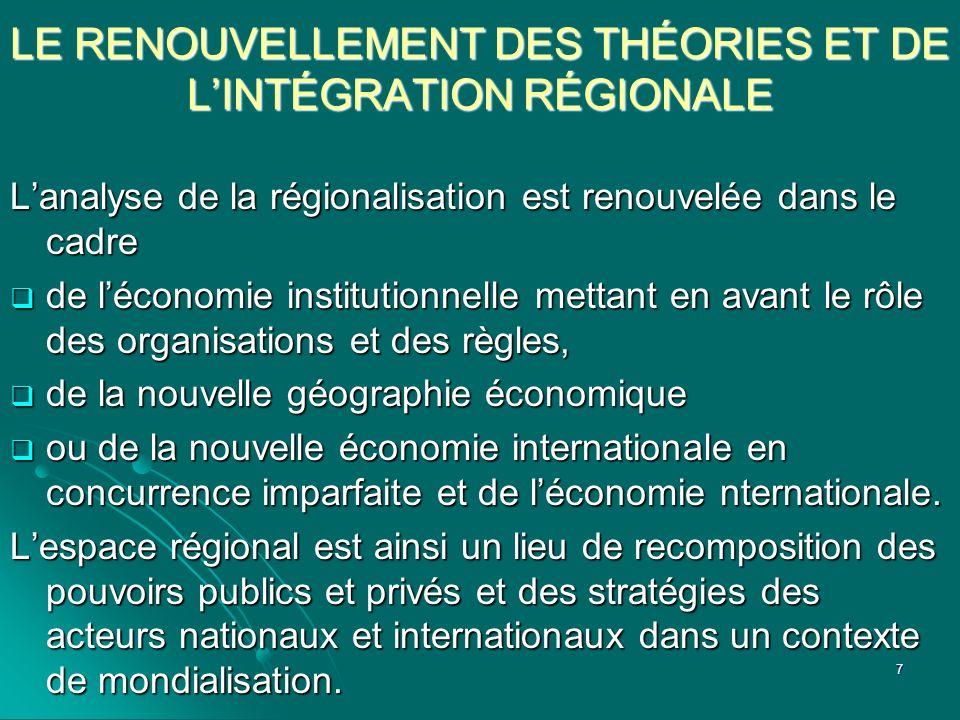 LE RENOUVELLEMENT DES THÉORIES ET DE LINTÉGRATION RÉGIONALE Lanalyse de la régionalisation est renouvelée dans le cadre de léconomie institutionnelle