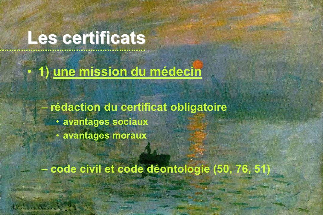 Les certificats 2) règles à respecter –A) nécessité d un examen préalable certificat : constat, attestation écrite ne pas rédiger de certificat sur des propos rapportés